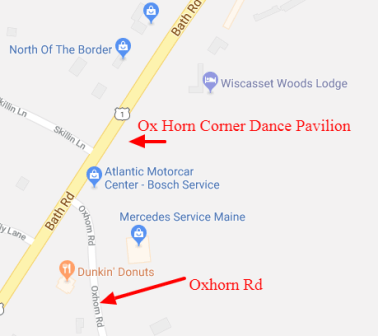 Map of the location of the Ox Horn Corner Dance Pavilion.