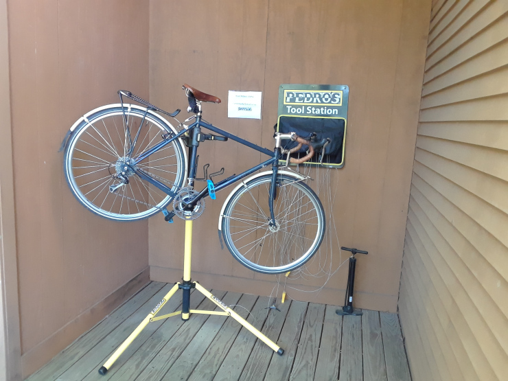 Bicycle repair stand and tool station courtesy of Pedro's.