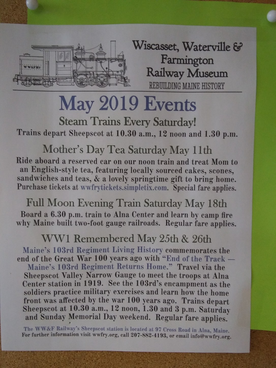 May activities at Wiscasset, Waterville and Farmington Railway. Know a train lover, check these out.