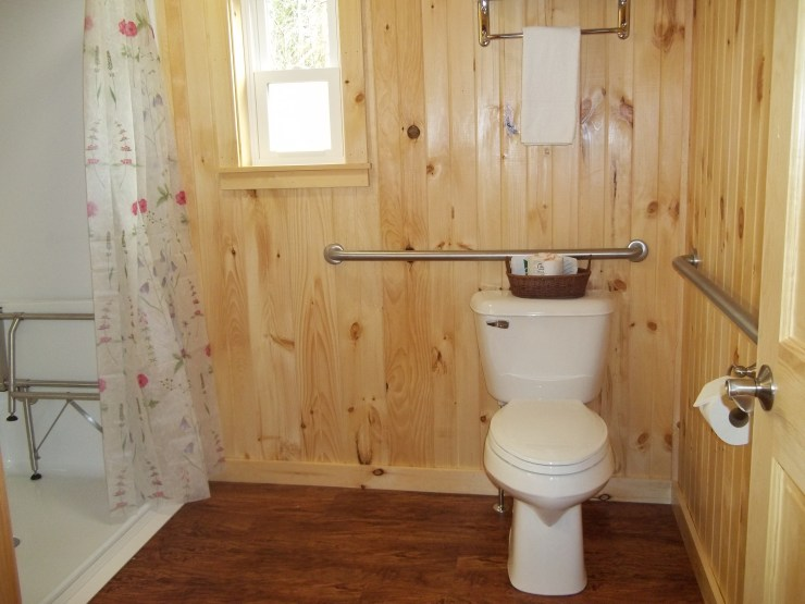 Grab bars in the bathroom of our handicap accessible room at our hotel in Wiscasset Maine.