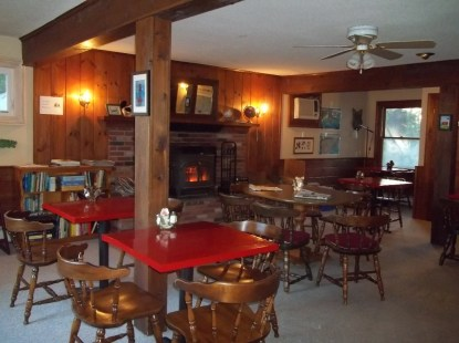 Dining room at Wiscasset Woods Lodge. Originally built as a restaurant and bar.