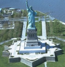 The star shaped fort that forms the base of the statue of liberty.