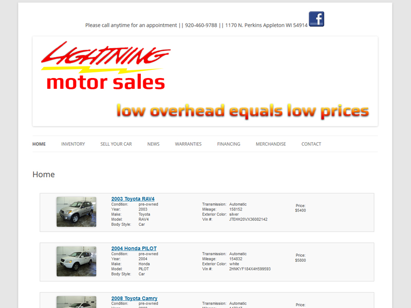 Wisconsin Website Design - Lightning Motor Sales