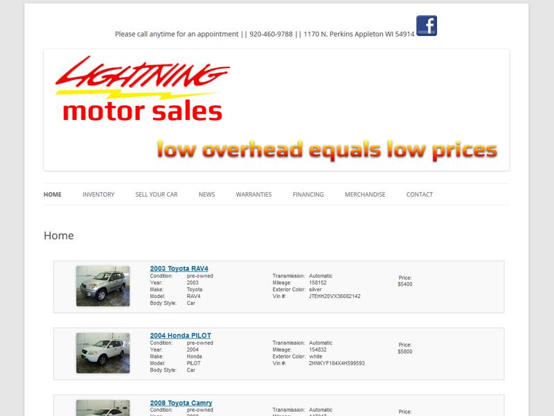 Wisconsin Website Design - Lightning Motor Sales