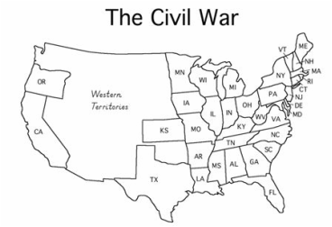 Blank Map Of United States Before The Civil War