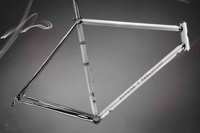 Studio photograph of a beautifully restored Schwinn Paramount touring frame.