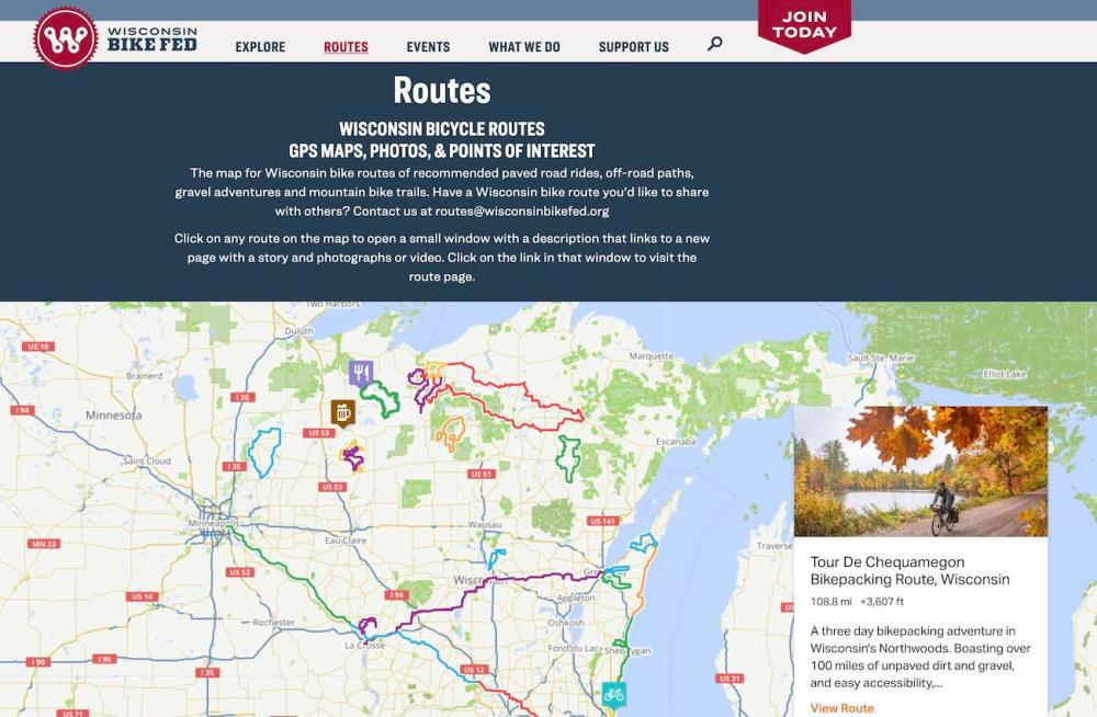 Screenshot of route map page from this website