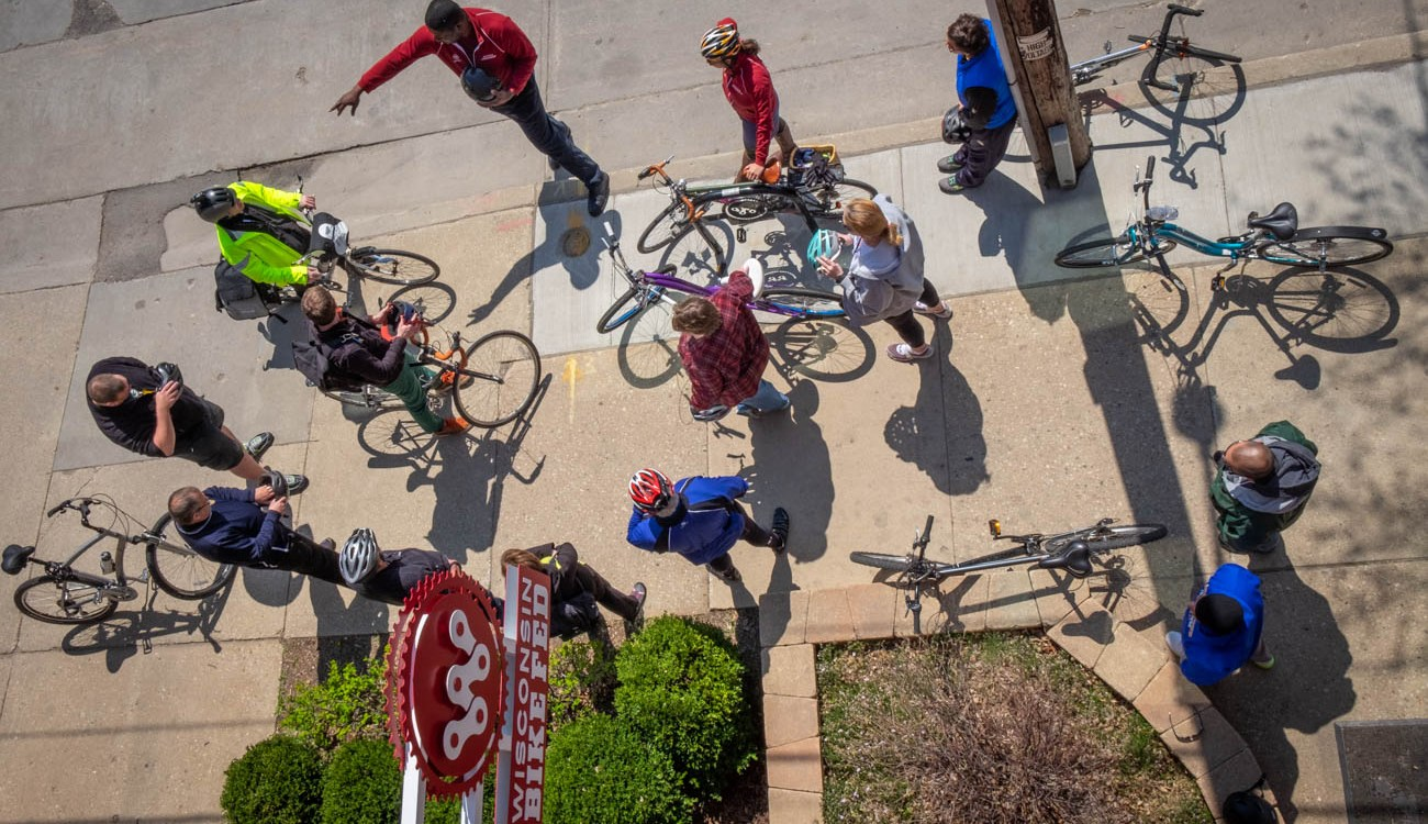 birds eye view of adult bicycle education class