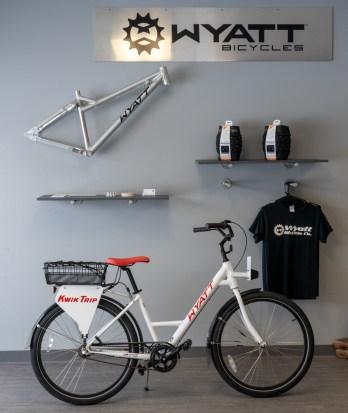 Wyatt manufactured bikeshare bikes for Kwik Trip's campus in the shop in Bangor