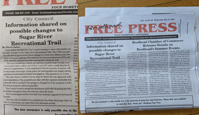 Diptych showing the Brodhead Free Press newspaper and an inset of a story about ATVs on the Sugar River trail
