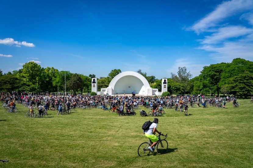Thousands of riders congregate at the bandshell in Washington Park during a break in the Black is Beautiful Ride.