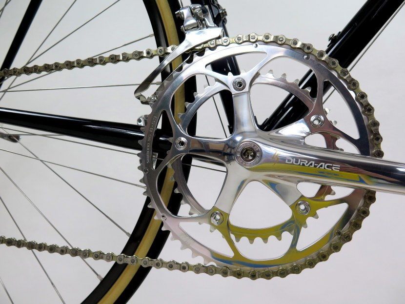 A close-up shot of the chain, chainring, and crank.