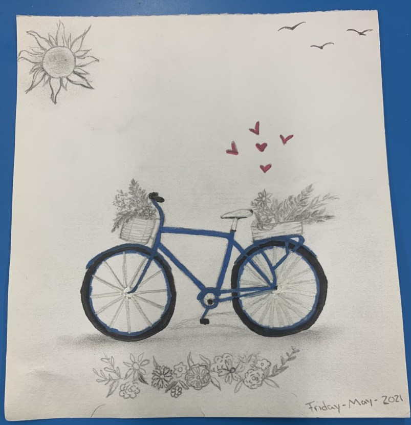 a bicycle drawing with front and back baskets and hearts floating from it