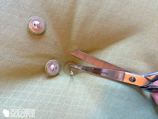 clipping buttons off of patio cushions
