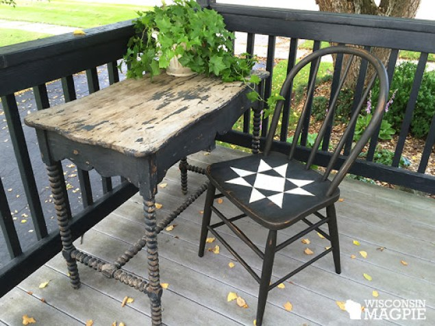 painted Ohio Star quilt square chair