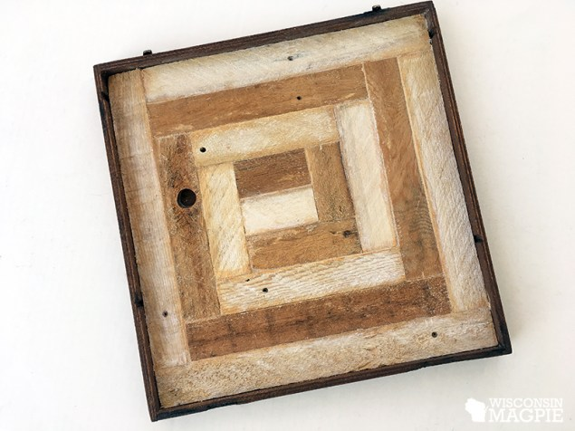 wooden log cabin quilt square