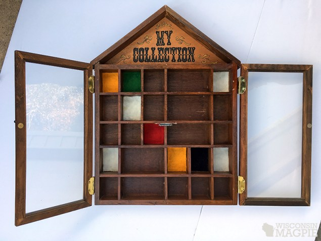 1970s curio cabinet before makeover