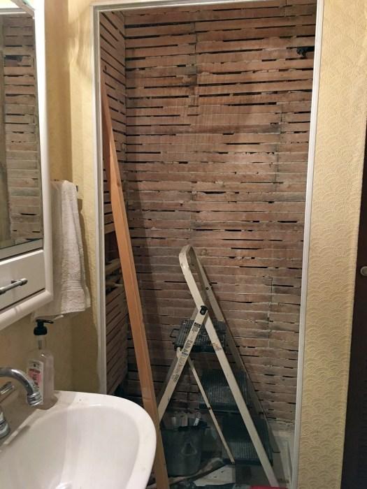 lath on walls inside shower stall
