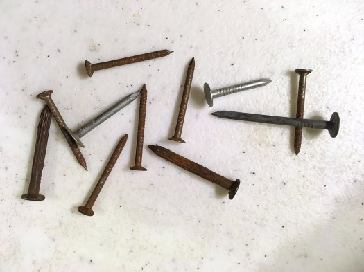 rusty nails to use as smokestacks for mini houses