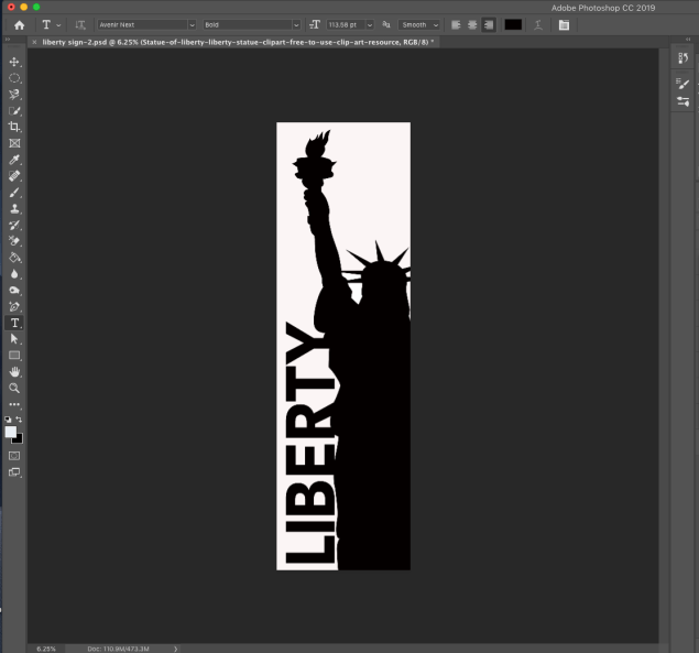 screenshot of statue of liberty drawing in Photoshop