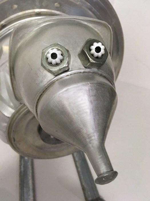 closeup of turkey robot face