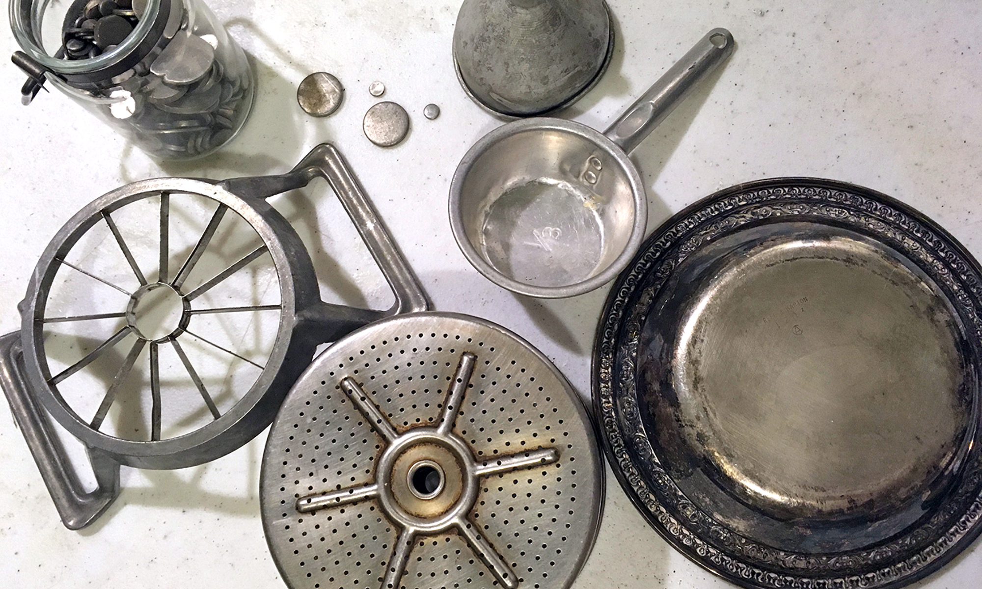 vintage aluminum kitchenware for a turkey assemblage