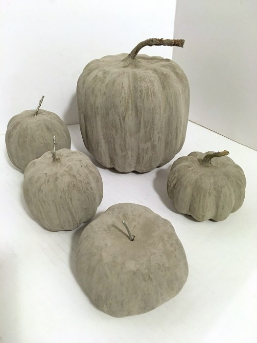 Pumpkins after concrete has dried