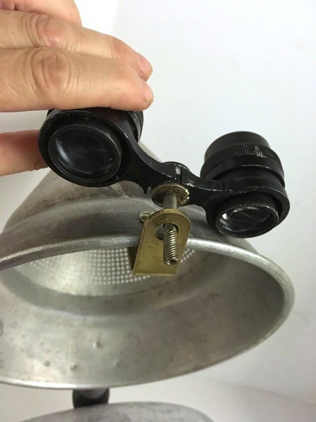 attaching binoculars to colander
