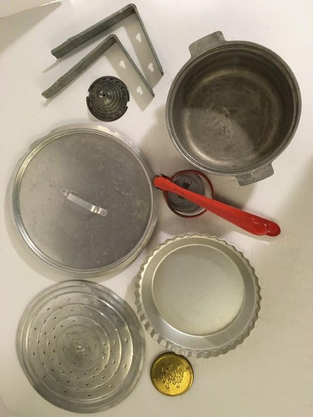 vintage kitchenware for turkey assemblage