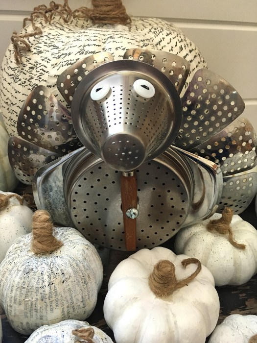 turkey assemblage made from kitchenware