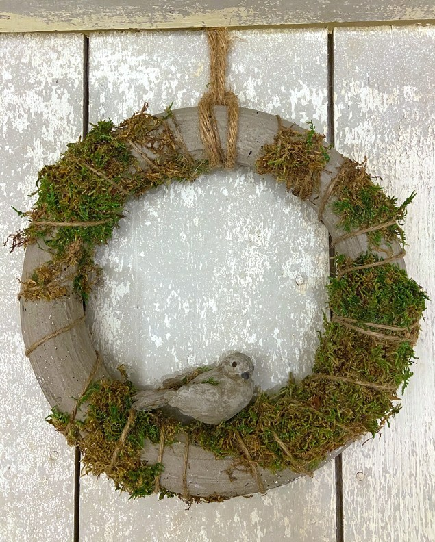 concrete and moss wreath