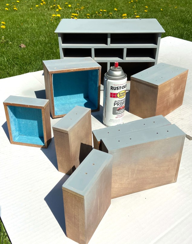 Wooden jewelry box spray painted with grey primer