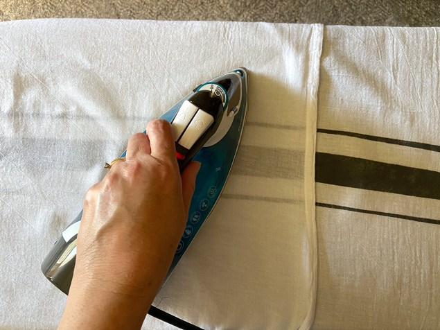 heat setting chalk paint on fabric with an iron