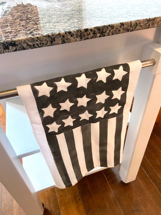 black and white flag dishtowel