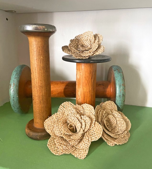 Vintage wood spools and burlap roses