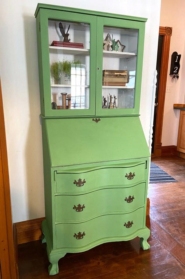 painted green secretary desk
