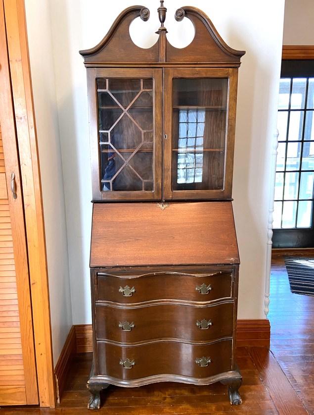 vintage secretary desk before the makeover