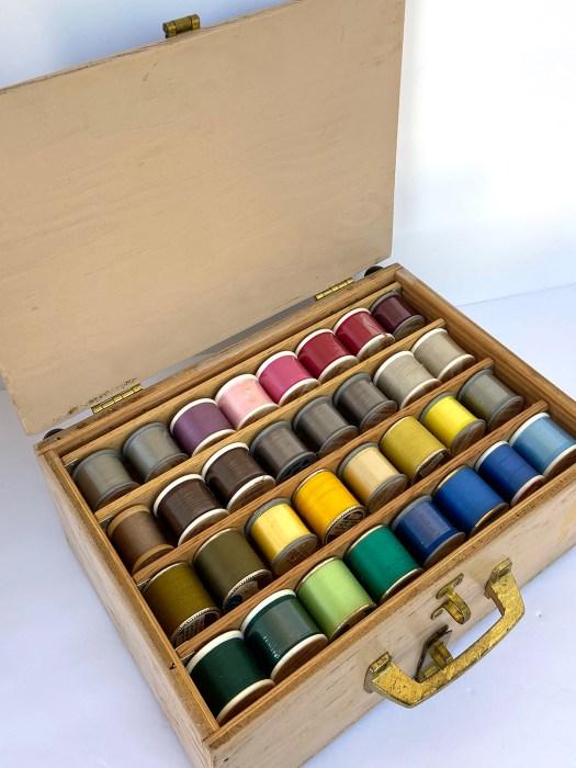 handmade wooden thread storage box