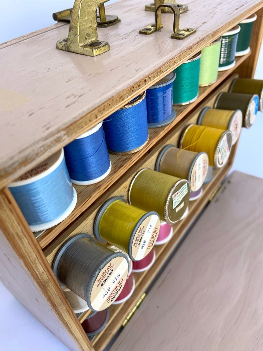 handmade wooden thread case with handle