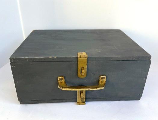 vintage thread case painted black
