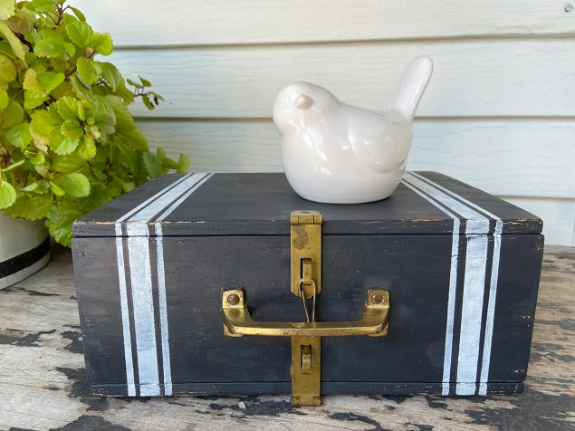 vintage thread box covered in black chalk paint and white grain sack stripes, after the makeover