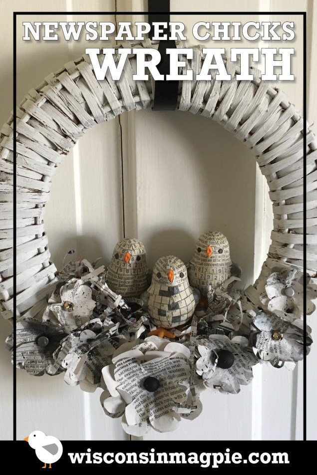Newspaper Chicks Wreath