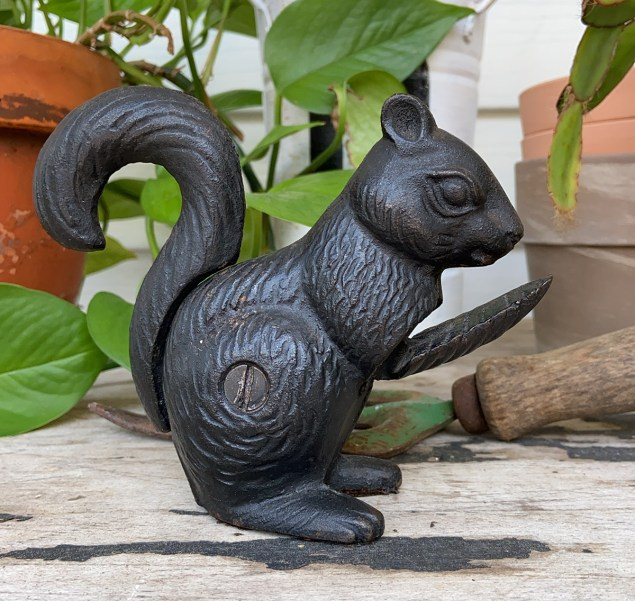 Collected castoffs: cast iron squirrel nutcracker