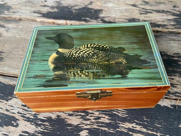 Cedar box with photo of loon on the cover