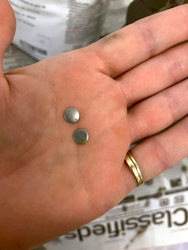 Two small metal disks in woman's hand