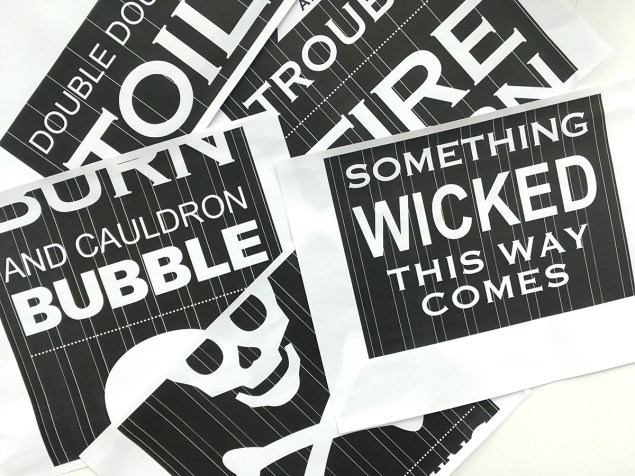 "Printout of ""Double Double Toil and Trouble"" Halloween sign"