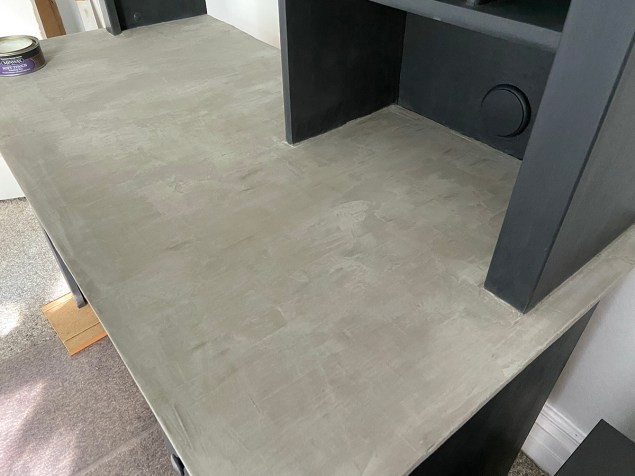 concrete desktop prior to applying wax