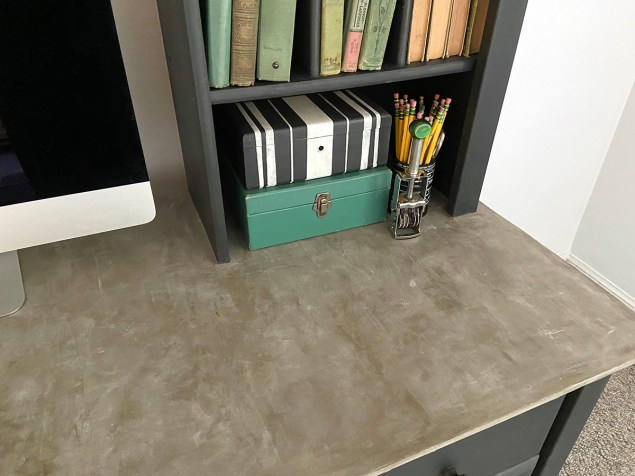 concrete desktop on industrial farmhouse style desk