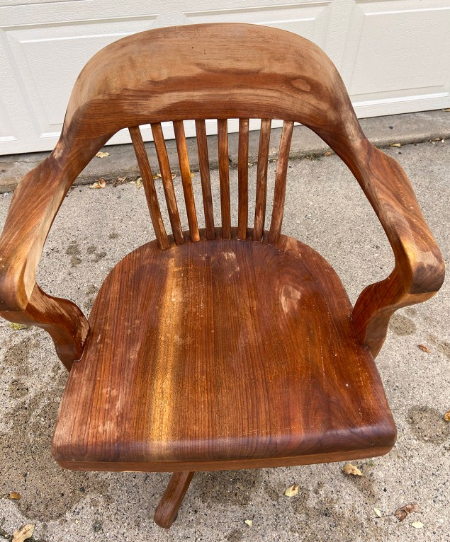 office chair immediately after bleach was applied