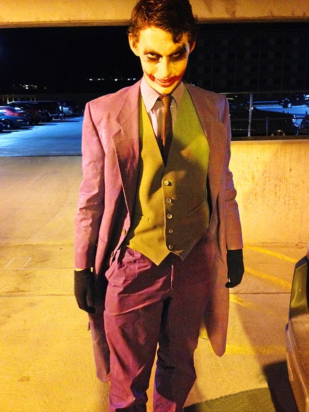 DIY Joker costume fashioned from thrifted clothing painted with fabric paint